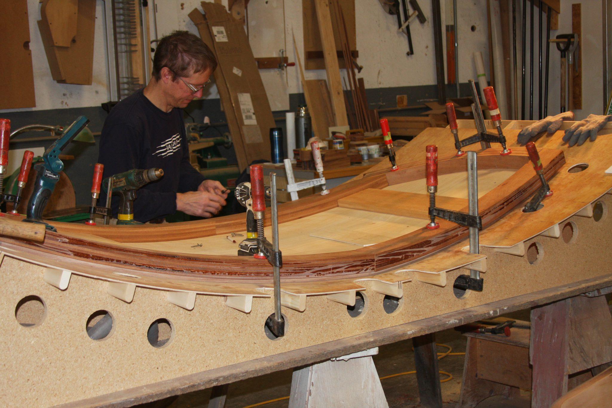 Custom forming the cabin top on Luv N It