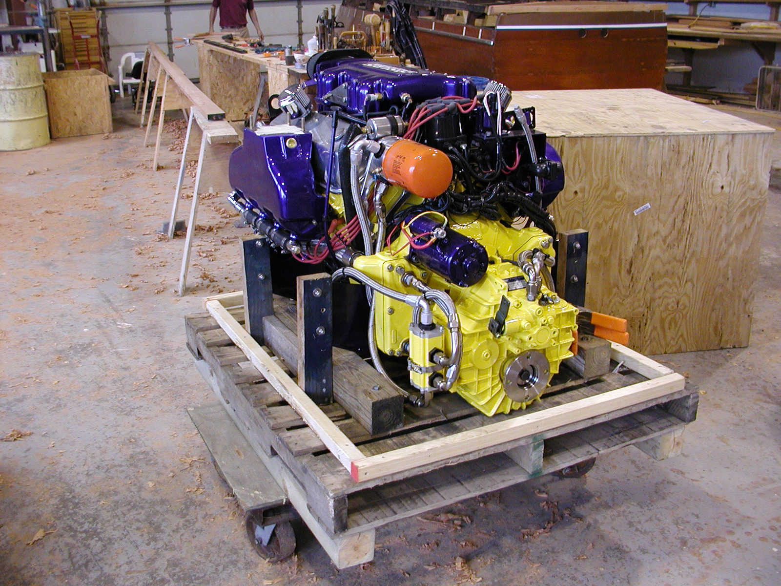 Purple and yellow color combination on custom engine of Jacqueline