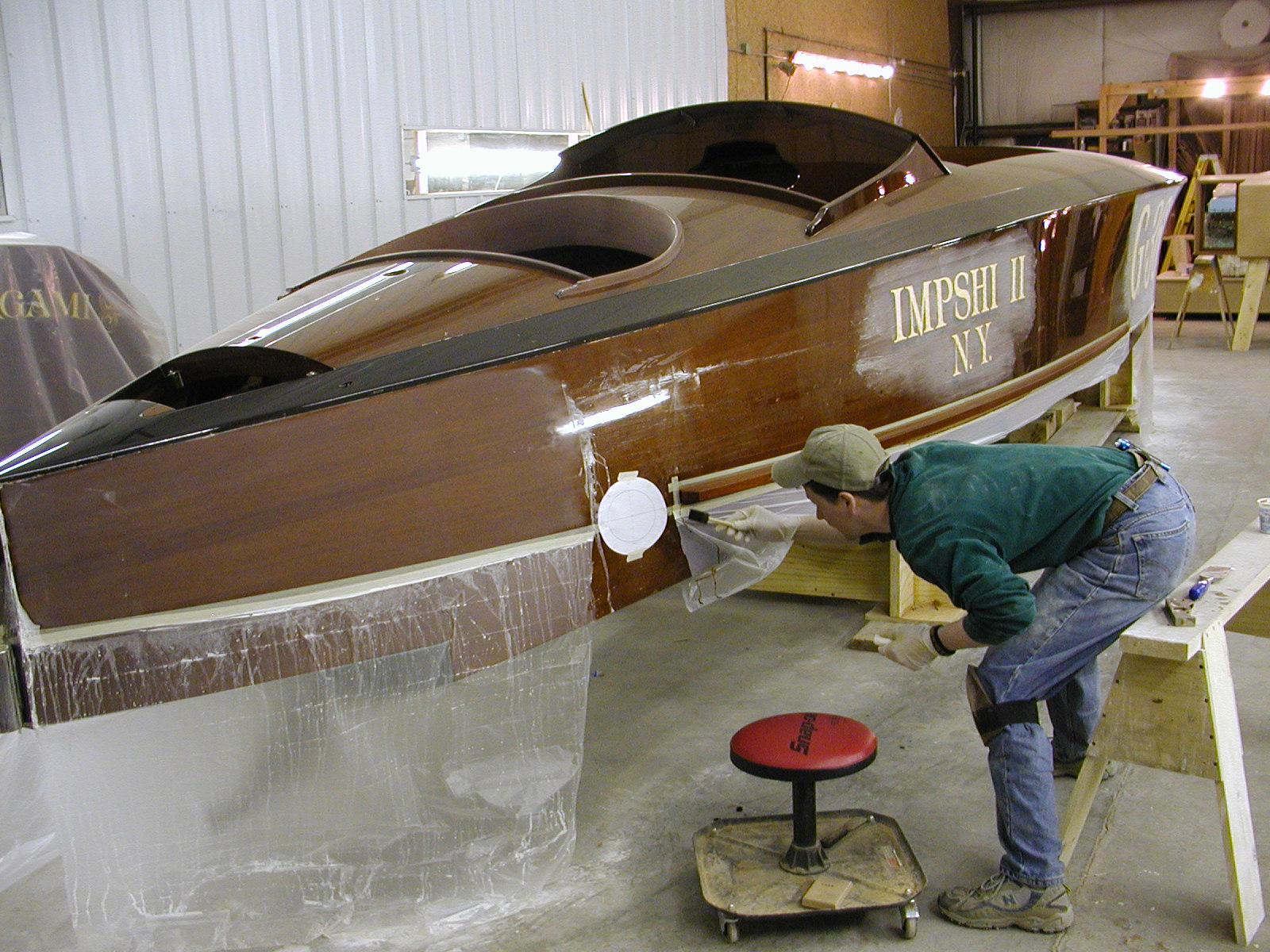 Clear coat being applied to Imshi