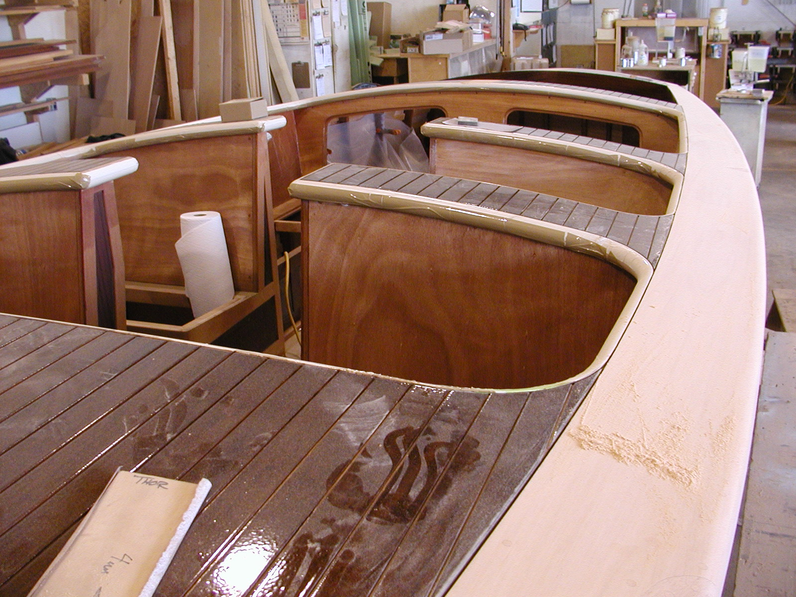Deck varnish and sanding on Theodora