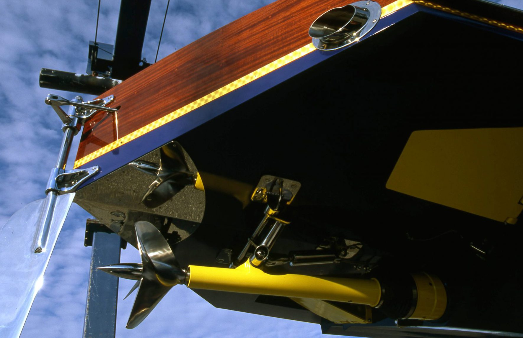 Surface piercing prop and rudder on Jacqueline
