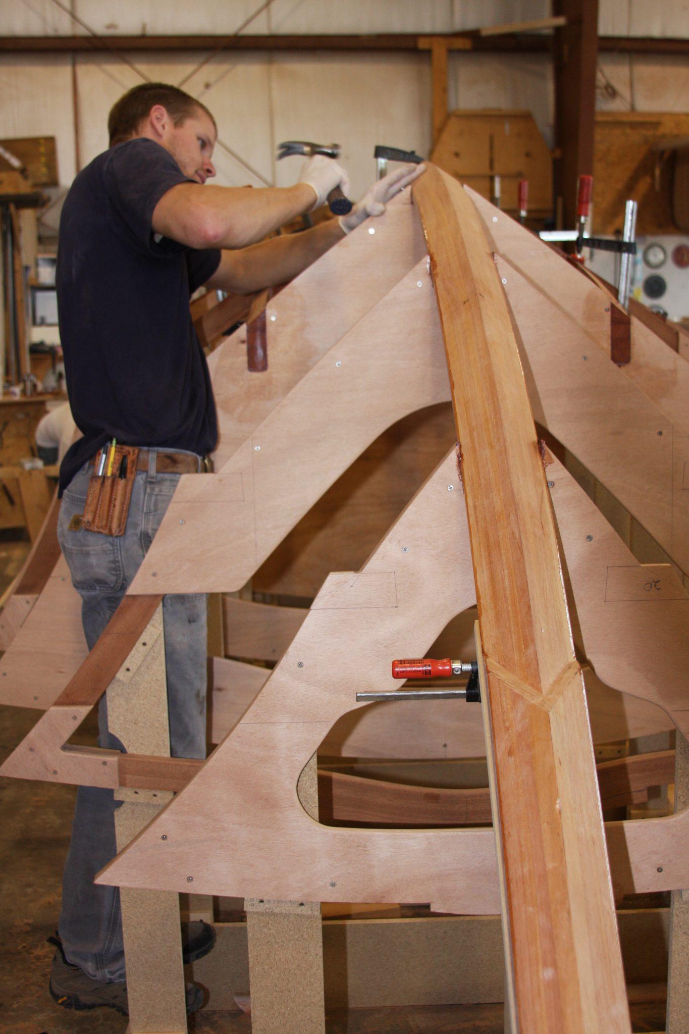 attaching a hull frame