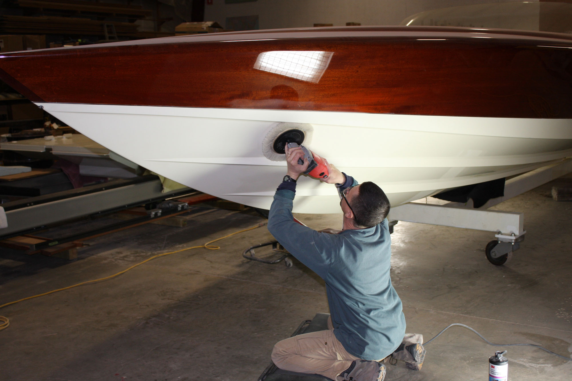 Pearlized paint being buffed out on the hull of Alpha Z
