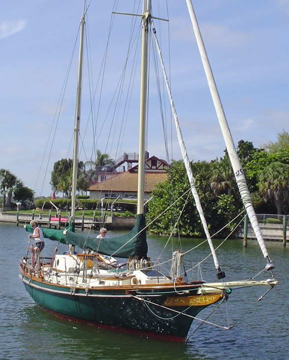 Morgana with sails down