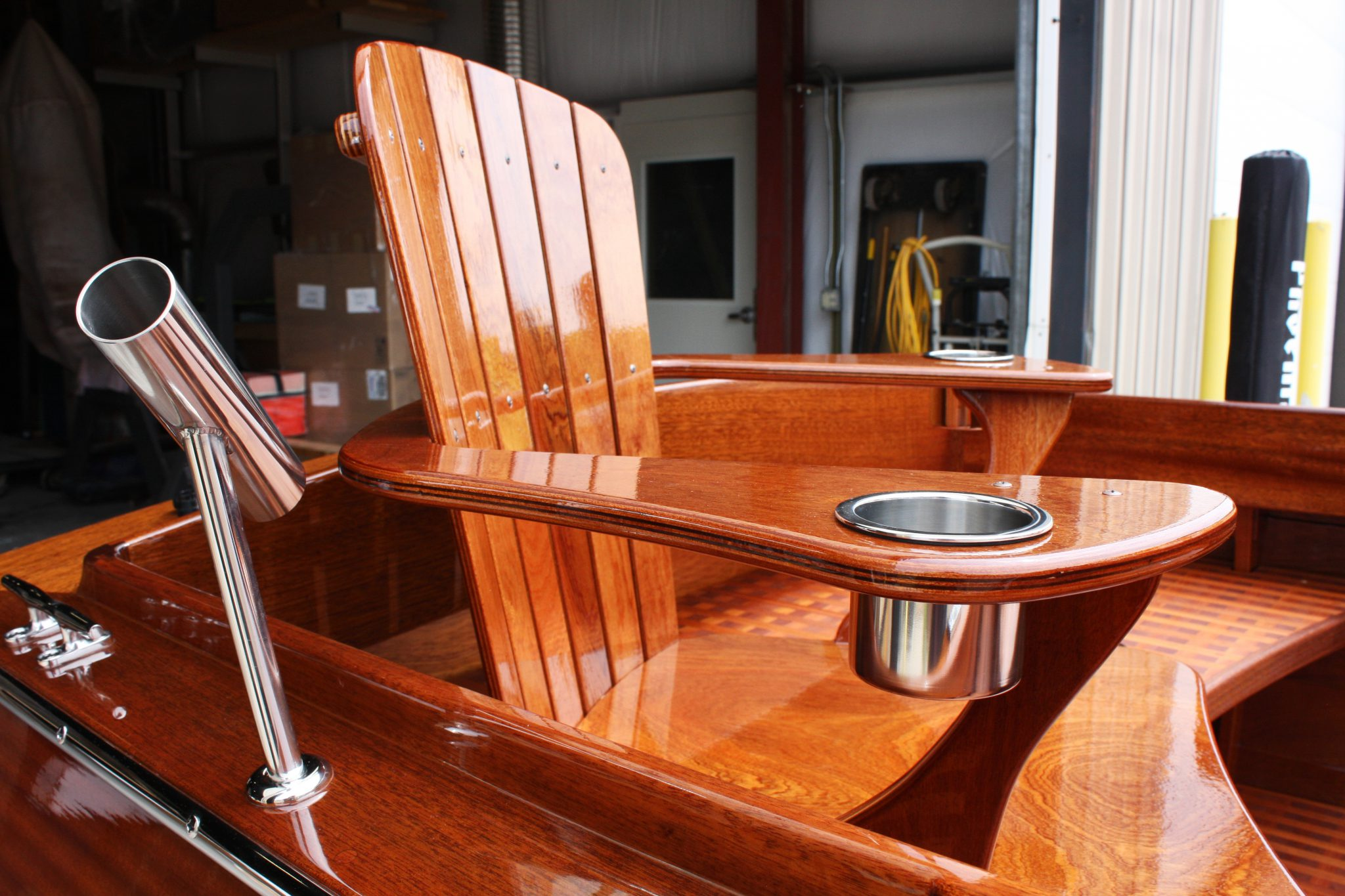 Mahogany comfort in fishing boat