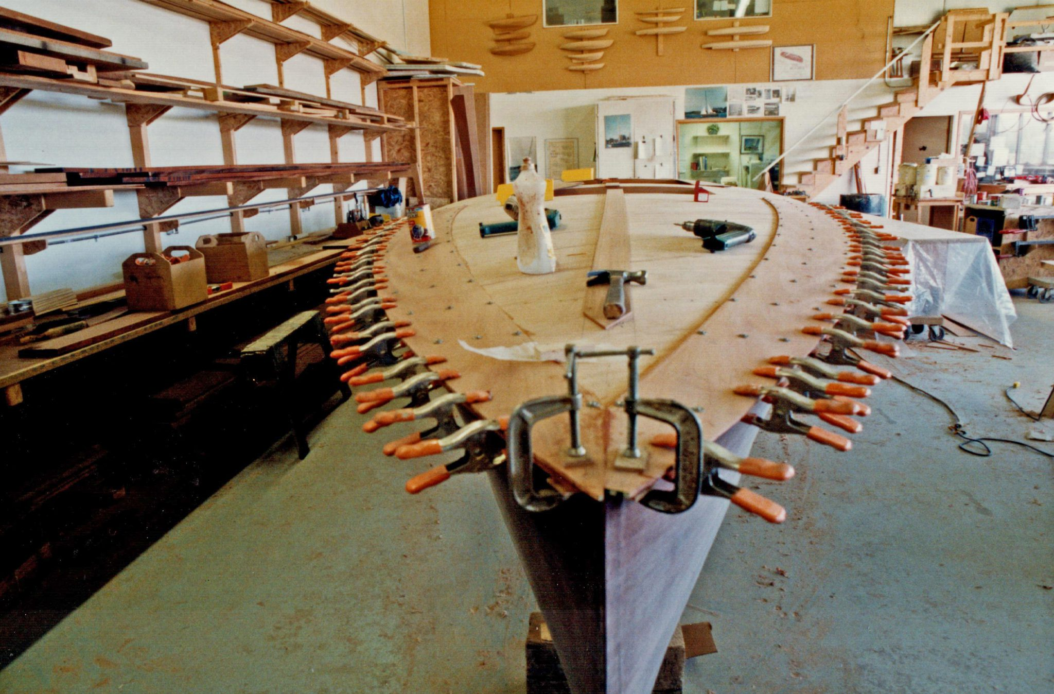 Clamping curved deck planking of Whiplash