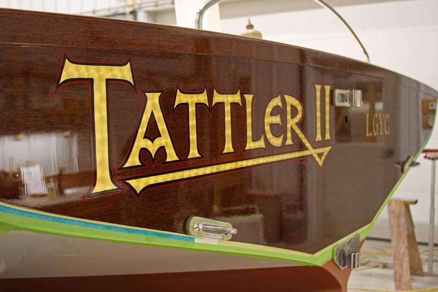 Name on transom of Tattler II