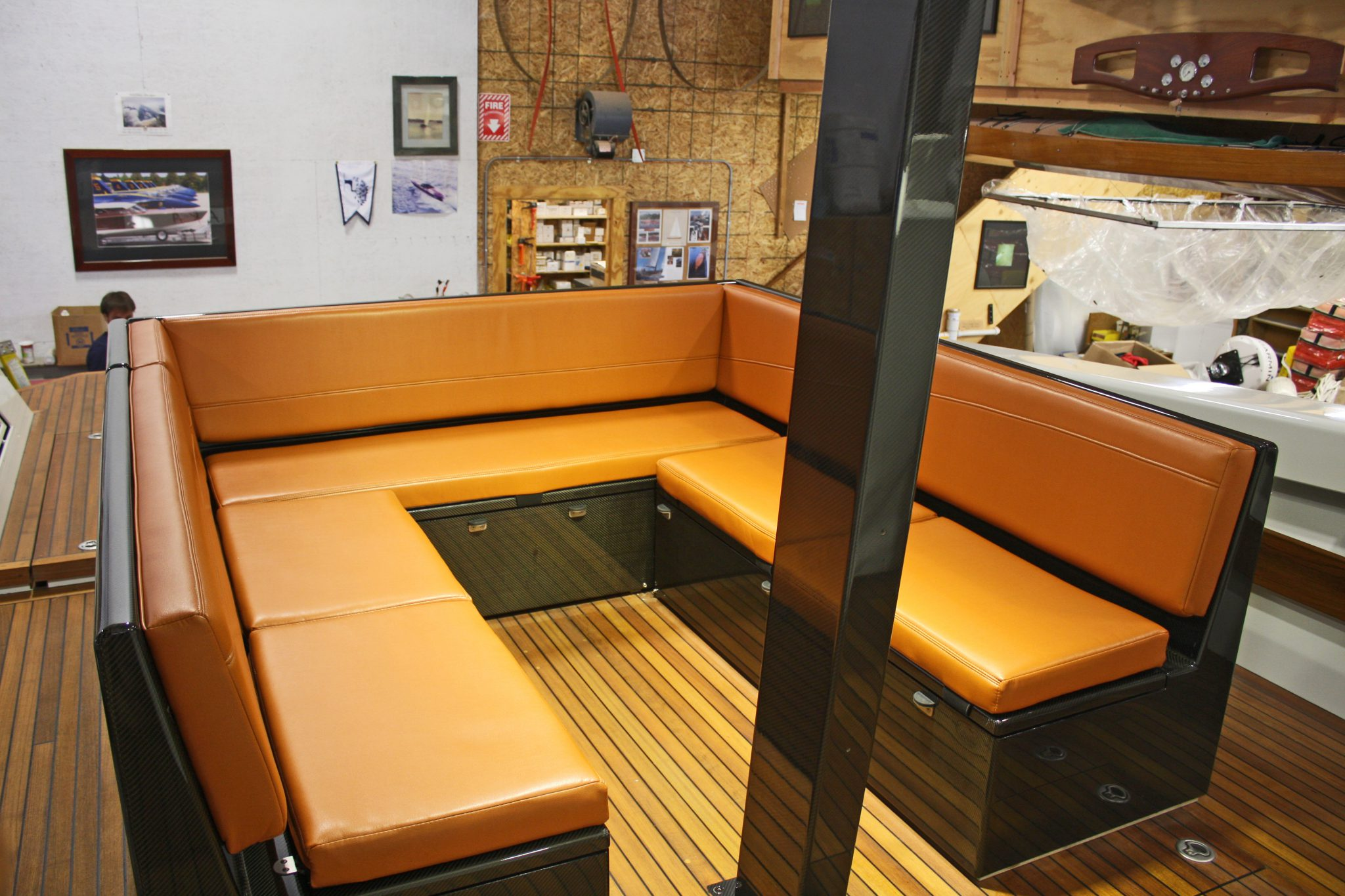 Unique orange leather seating in Chiara