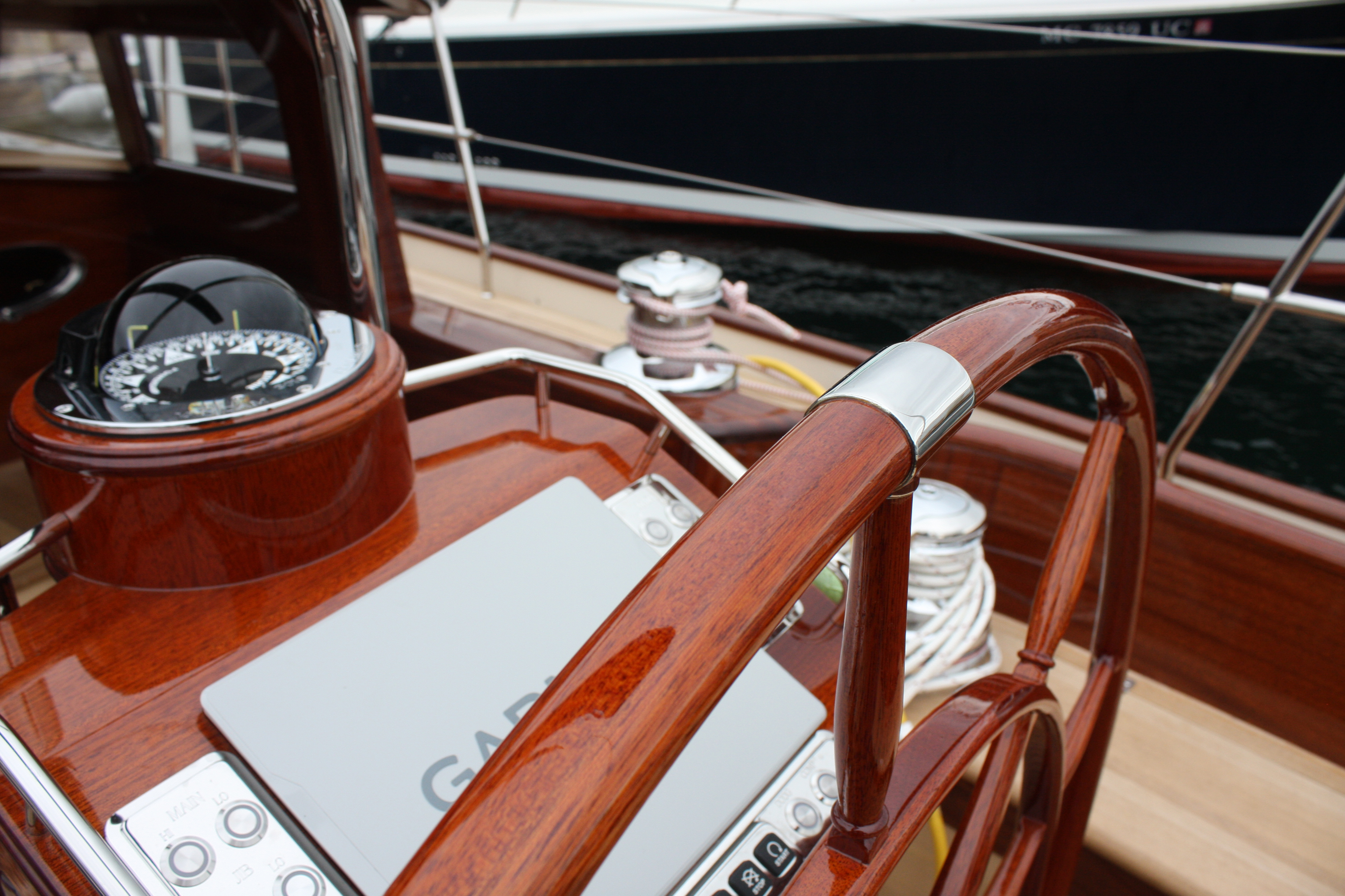 Italmas helm compass and Garmin controls