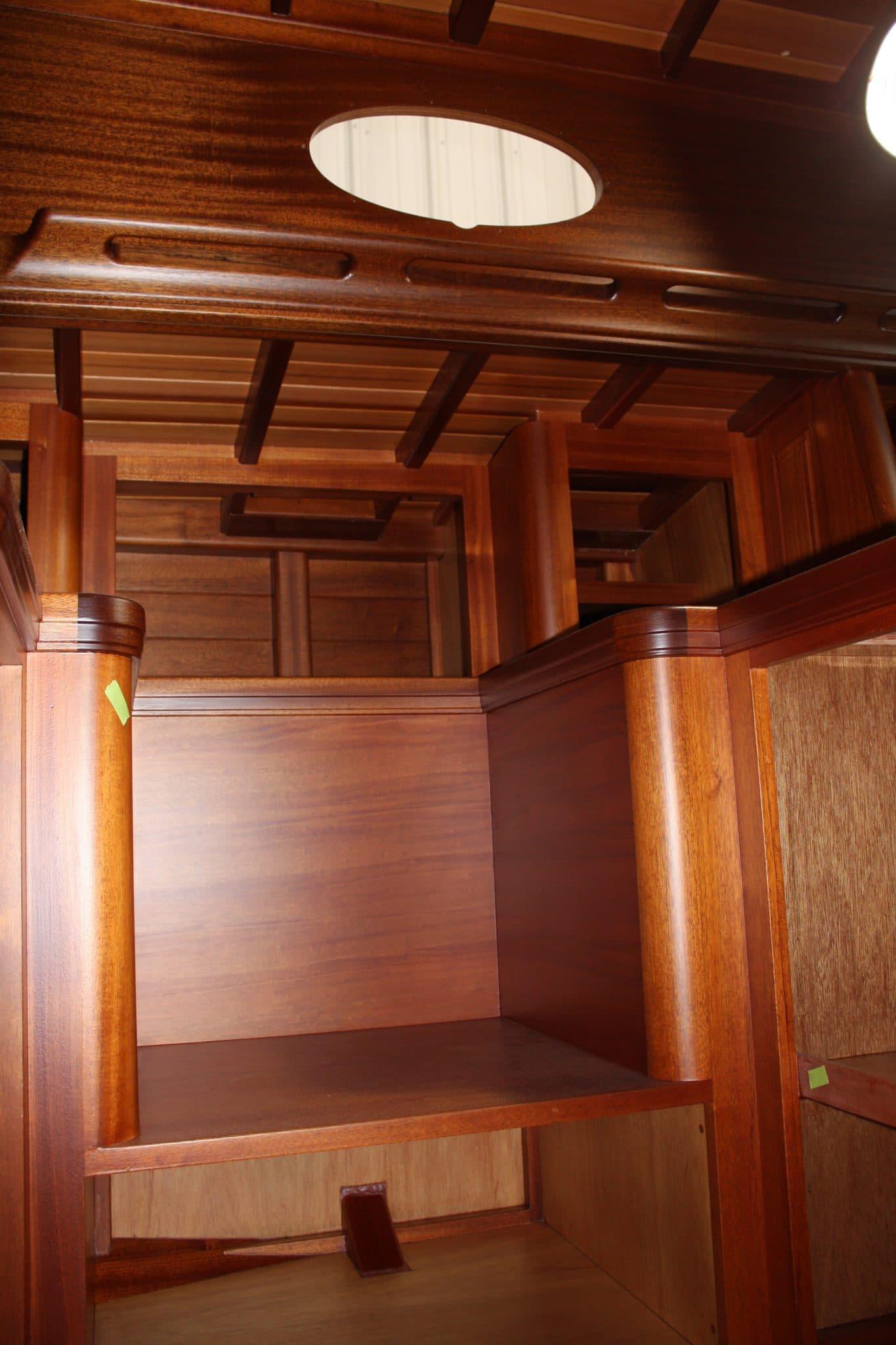 Elegant, hand crafted, mahogany interior of Italmas