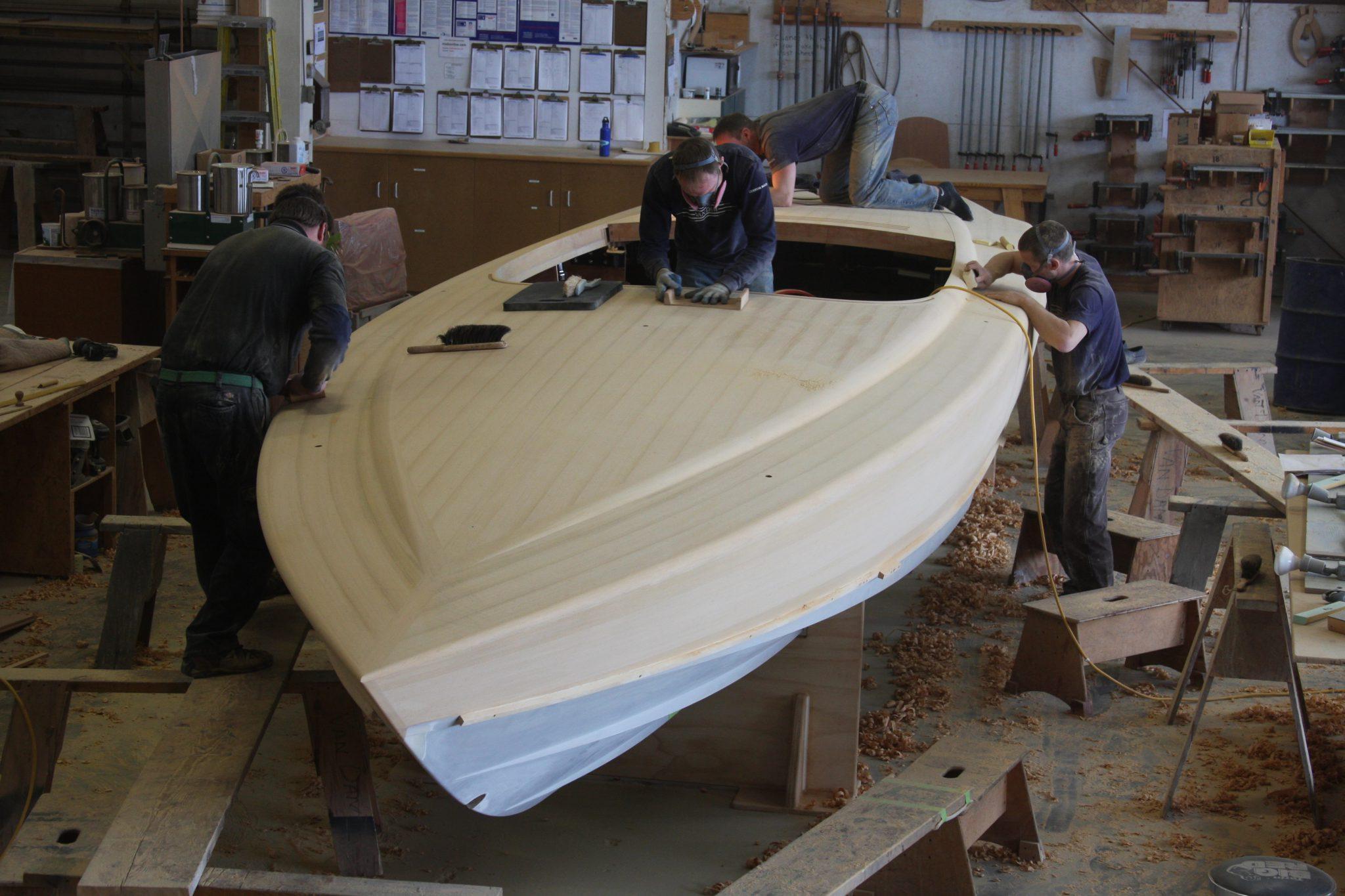 Sanding on the final hull of VZ