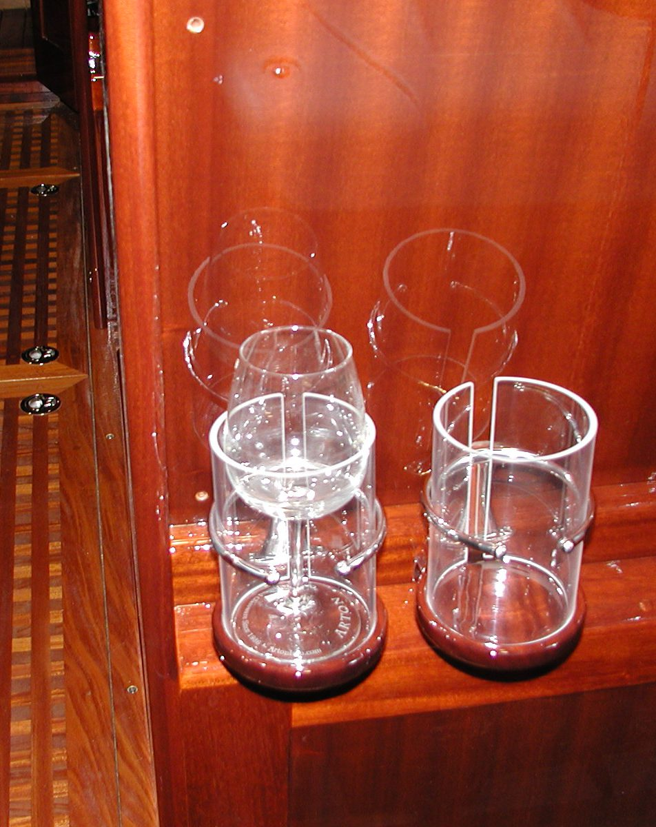 Stainless and mahogany beverage holders