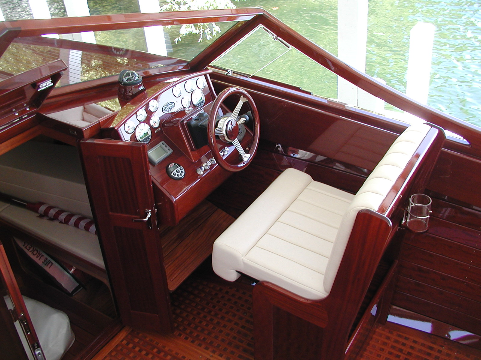 Custom leather seating at the helm